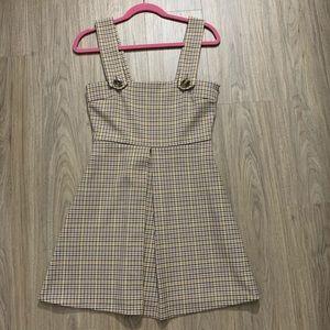 Zara Plaid Overall Dress